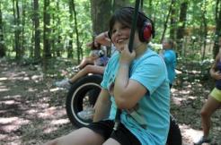 camper on tire swing